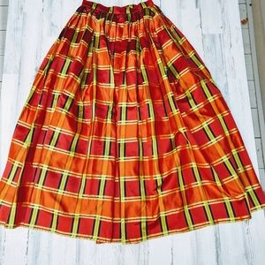 Vintage 90s Escada Couture Plaid Ballgown Skirt
